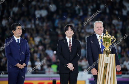 Japan's Prime Minister Shinzo Abe, Japan's Crown Prince Akishino and World Rugby chairman Bill Beaumont, from left, during the presentation ceremony after the Rugby World Cup final at International Yokohama Stadium between England and South Africa in Yokohama, Japan