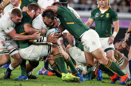 England vs South Africa. England's Billy Vunipola with South Africa's Duane Vermeulen and Malcolm Marx
