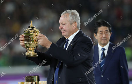 England vs South Africa. World Rugby chairman Bill Beaumont with the Webb Ellis Trophy