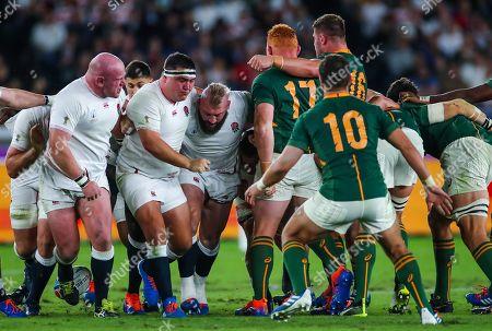 England vs South Africa. England's Dan Cole, Jamie George and Joe Marler in the scrum