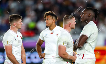 England vs South Africa. England's Owen Farrell, Anthony Watson, Sam Underhill and Maro Itoje dejected