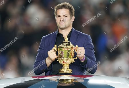 Stock Photo of Former New Zealand captain Richie McCaw arrives with the the Webb Ellis Cup for the medal ceremony after South Africa won the Rugby World Cup final match between England and South Africa at the International Stadium Yokohama, Kanagawa Prefecture, Yokohama, Japan, 02 November 2019.