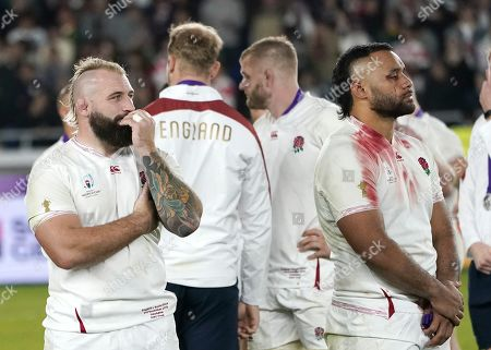 Joe Marler (L) and Billy Vunipola (R) of England react after the Rugby World Cup final match between South Africa and England at the International Stadium Yokohama, Kanagawa Prefecture, Yokohama, Japan, 02 November 2019.