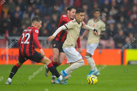 Andreas Pereira of Manchester United is tracked by Adam Smith of AFC Bournemouth and Harry Wilson of AFC Bournemouth during AFC Bournemouth vs Manchester United, Premier League Football at the Vitality Stadium on 2nd November 2019