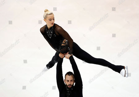 Ashley Cain-Gribble (up) and Timothy Leduc of the USA perform in the Pairs Free Skating at the Internationaux de France ISU Figure Skating Grand Prix in Grenoble, France, 02 November 2019.