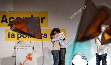 Left-wing Mas Pais (More Country) Party's leader and Prime Minister candidate Inigo Errejon (R) embraces Compromis' leader Monica Oltra (L), during an campaign event in Valencia, Spain, 02 November 2019. Spain will hold general elections upcoming 10 November.
