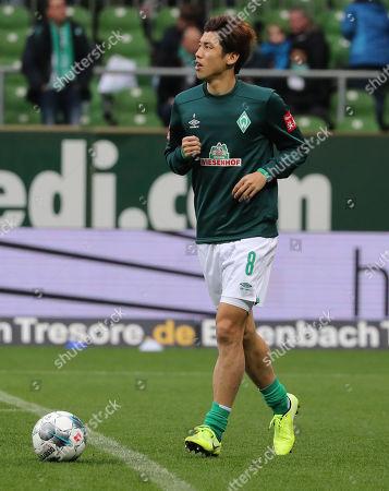 Bremen's Yuya Osako before the German Bundesliga soccer match between SV Werder Bremen and SC Freiburg in Bremen, Germany, 02 November 2019.