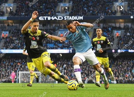 Manchester City's Gabriel Jesus (R) in action against Southampton's Jan Bednarek (L) during the English Premier League soccer match between Manchester City v Southampton at the Etihad stadium in Manchester, Britain, 02 November 2019.
