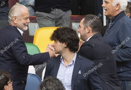 Napoli's President, Aurelio De Laurentiis (L) shakes hands with Italian Sport Minister Vincenzo Spadafora during the Italian Serie A soccer match between AS Roma and SSC Napoli at Olimpico Stadium in Rome, Italy, 02 November 2019.
