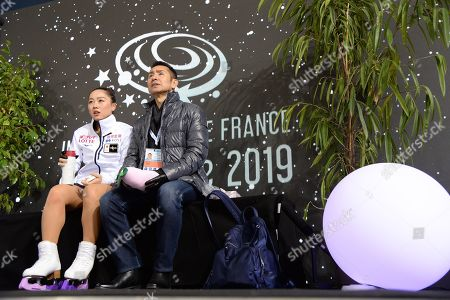 Wakaba Higuchi, from Japan, during Short Program, at ISU Grand Prix of Figure Skating at Patinoire Polesud.