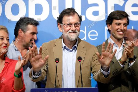 Spanish former Prime Minister Mariano Rajoy (C) attends a People's Party (PP's) electoral campaign in Malaga, Andalusia, Spain, 02 November 2019. Spain will hold general elections on 10 November 2019.