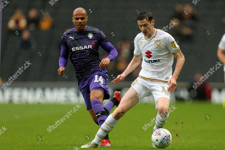 Conor McGrandles of MK Dons and Jake Caprice of Tranmere Roversduring MK Dons vs Tranmere Rovers, Sky Bet EFL League 1 Football at stadium:mk on 2nd November 2019