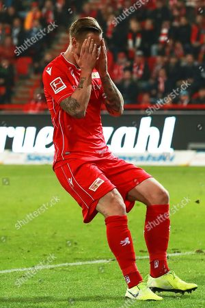 Union's Sebastian Polter reacts during the German Bundesliga soccer match between FC Union Berlin and Hertha BSC in Berlin, Germany, 02 November 2019.