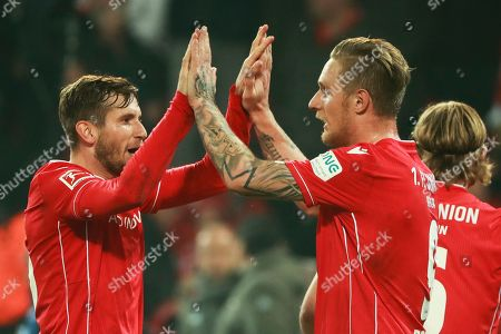 Union's Sebastian Polter (R) celebrates  after the penalty spot during the German Bundesliga soccer match between FC Union Berlin and Hertha BSC in Berlin, Germany, 02 November 2019.