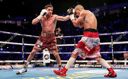 Anthony Crolla vs Frank Urquiaga. Anthony Crolla in action with Frank Urquiaga