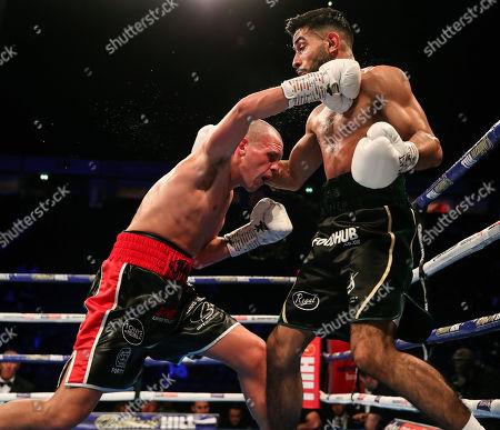 Vacant WBA Continental Super-Bantamweight Championship. Qais Ashfaq vs Joe Ham. Joe Ham lands a punch on Qais Ashfaq