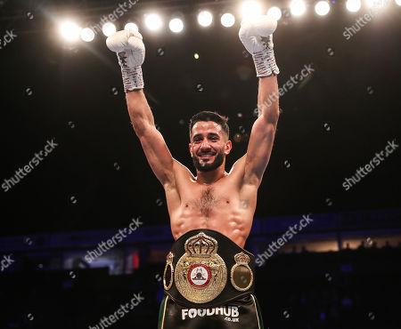 Vacant WBA Continental Super-Bantamweight Championship. Qais Ashfaq vs Joe Ham. Qais Ashfaq celebrates becoming the Vacant WBA Continental Super-Bantamweight Champion
