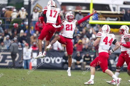 Braxton Clark, Lamar Jackson. Nebraska cornerback Lamar Jackson (21) celebrates an interception with cornerback Braxton Clark (17) during the first half of an NCAA college football game against Purdue in West Lafayette, Ind
