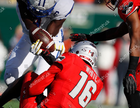 R m. UNLV linebacker Javin White, front, breaks up a pass in the end zone intended for Colorado State wide receiver Warren Jackson in the second half of an NCAA college football game, in Fort Collins, Colo. Colorado State won 37-17
