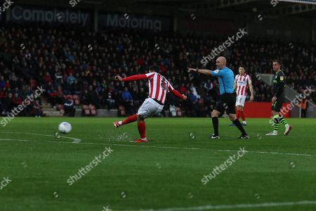 Chris Clemments hits the freekick that leads to the Luke Varney goal during the EFL Sky Bet League 2 match between Cheltenham Town and Forest Green Rovers at Jonny Rocks Stadium, Cheltenham