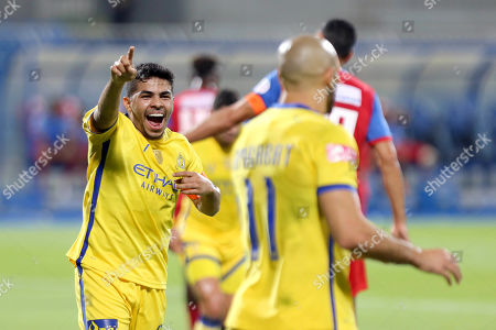 Al-Nassr's Yahya Al Shehri (L) celebrates after scoring the 2-0 lead during the Saudi Professional League soccer match between Al-Nassr FC and Abha Club at Prince Faisal Bin Fahd Stadium in Riyadh, Saudi Arabia, 02 November 2019.