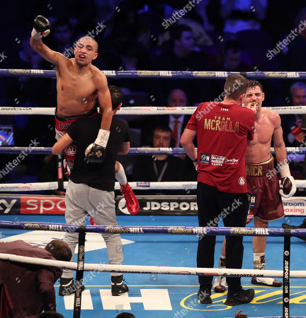Anthony Crolla celebrates at the end of the fight