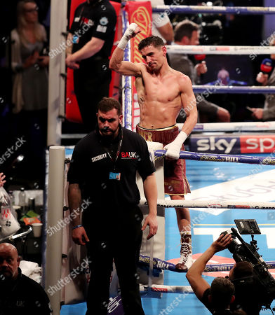 Stock Picture of Anthony Crolla celebrates at the end of the fight