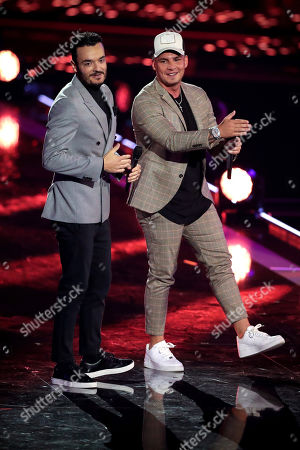 Giovanni Zarrella (L) and German singer Pietro Lombardi (R) perform during the TV show 'Schlagerbooom 2019 - Alles funkelt! Alles glitzert!' (lit.: Hit Booom 2019 - everything sparkles, everything glitters) at the Westfalenhalle in Dortmund, Germany, 02 November 2019.
