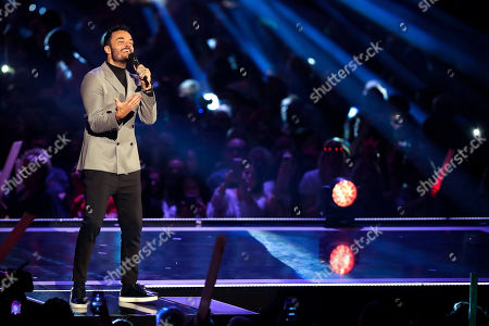 Stock Photo of Giovanni Zarrella performs during the TV show 'Schlagerbooom 2019 - Alles funkelt! Alles glitzert!' (lit.: Hit Booom 2019 - everything sparkles, everything glitters) at the Westfalenhalle in Dortmund, Germany, 02 November 2019.