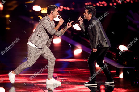 Stock Picture of Florian Silbereisen (L) and German singer Thomas Anders (R) perform during the TV show 'Schlagerbooom 2019 - Alles funkelt! Alles glitzert!' (lit.: Hit Booom 2019 - everything sparkles, everything glitters) at the Westfalenhalle in Dortmund, Germany, 02 November 2019.