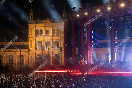 Luke Spiller of British band The Struts performs during a concert in the framework of the MTV European Music Awards held at Plaza de Espana in Seville, Andalusia, Spain, 02 November 2019.