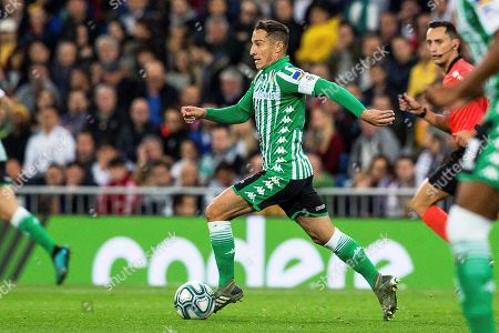 Betis' midfielder Andres Guardado in action during the Spanish La Liga soccer match between Real Madrid and Real Betis at Santiago Bernabeu stadium in Madrid, Spain, 02 November 2019.