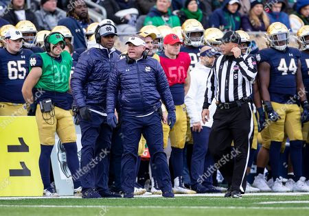 Notre Dame head coach Brian Kelly on the sidelines during NCAA football game action between the Virginia Tech Hokies and the Notre Dame Fighting Irish at Notre Dame Stadium in South Bend, Indiana. Notre Dame defeated Virginia Tech 21-20