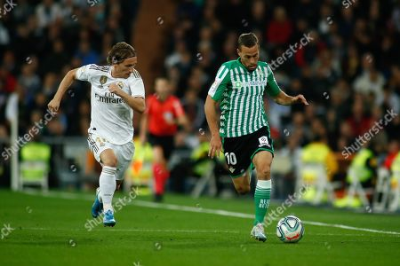 Sergio Canales, player of Real Betis from Spain, and Luka Modric, player of Real Madrid from Croatia