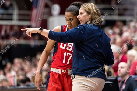 Team USA lead coach Cheryl Reeve talks to guard Skylar Diggins-Smith (17) in the third quarter of an exhibition women's basketball game against Stanford, in Stanford, Calif