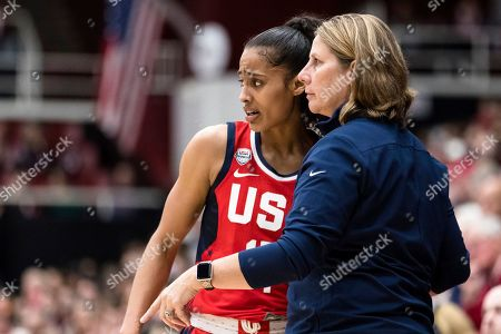 Stock Picture of Team USA lead coach Cheryl Reeve, right, talks to guard Skylar Diggins-Smith in the third quarter of an exhibition women's basketball game against Stanford, in Stanford, Calif. Team USA won 95-80