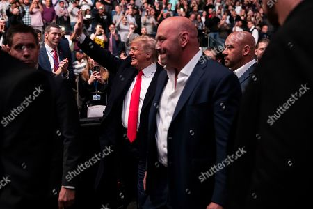 Donald Trump, Dana White. President Donald Trump and UFC president Dana White arrive at Madison Square Garden to attend the UFC 244 mixed martial arts fights, in New York