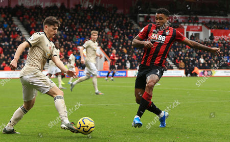 David James of Manchester United and Joshua King of AFC Bournemouth