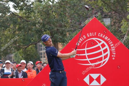 Justin Rose of England in action during the fourth round of the HSBC World Golf Championships at the Sheshan International Golf Club in Shanghai, China, 03 November 2019.