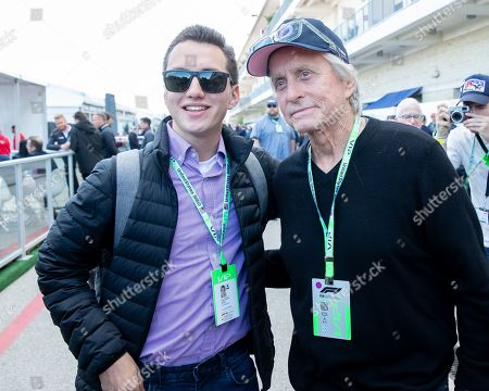 Michael Douglas poses with fans during the 2019 F1 United States Grand Prix weekend at Circuit of the Americas