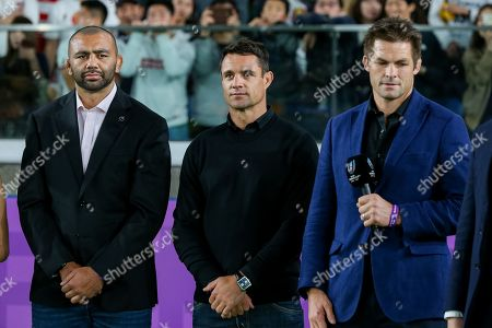 Japan captain Michael Leitch, Former New Zealand player DanCarter and Richie McCaw