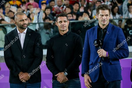 Stock Image of Japan captain Michael Leitch, Former New Zealand player DanCarter and Richie McCaw
