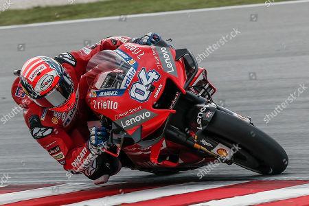 Italian MotoGP rider Andrea Dovizioso of Ducati Team in action during the Motorcycling Grand Prix of Malaysia 2019 in Sepang International Circuit, outside Kuala Lumpur, Malaysia, 03 November 2019.