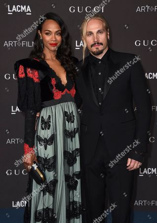 Marco Perego; Zoe Saldana. Marco Perego and Zoe Saldana arrive at the 2019 LACMA Art and Film Gala at Los Angeles County Museum of Art, in Los Angeles