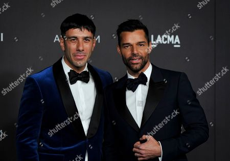 Puerto Rican singer Ricky Martin (R) and his partner, artist Jwan Yosef (L) pose upon their arrival at the 2019 LACMA Art + Film Gala at the Los Angeles County Museum of Art in Los Angeles, California, USA, 02 November 2019.