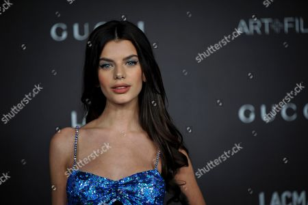 Stock Photo of French model Sonia Ben Ammar poses upon her arrival at the 2019 LACMA Art + Film Gala at the Los Angeles County Museum of Art in Los Angeles, California, USA, 02 November 2019.