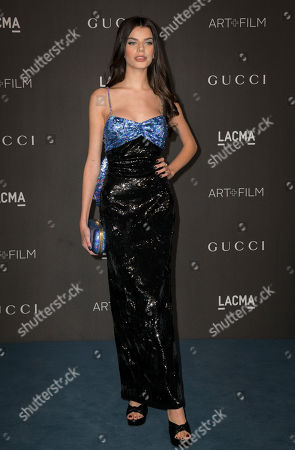 French model Sonia Ben Ammar poses upon her arrival at the 2019 LACMA Art + Film Gala at the Los Angeles County Museum of Art in Los Angeles, California, USA, 02 November 2019.