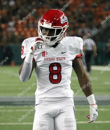 Stock Photo of Fresno State Bulldogs wide receiver Chris Coleman #8 during a game between the Fresno State Bulldogs and the Hawaii Rainbow Warriors at Aloha Stadium in Honolulu, HI - Michael Sullivan/CSM
