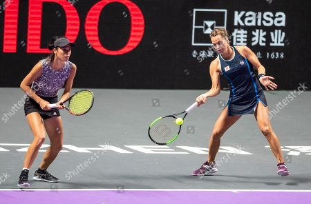 Su Wei Hsieh of Chinese Taipei (L) and Barbora Strycova of Czech Republic (R) in action against Timea Babos of Hungary and Kristina Mladenovic of France at the WTA Finales 2019 tournament doubles finales match in Shenzhen, China, 03 November 2019.