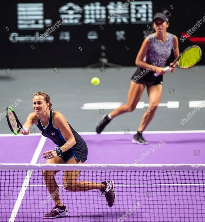 Su Wei Hsieh of Chinese Taipei (R) and Barbora Strycova of Czech Republic (L) in action against Timea Babos of Hungary and Kristina Mladenovic of France at the WTA Finales 2019 tournament doubles finales match in Shenzhen, China, 03 November 2019.